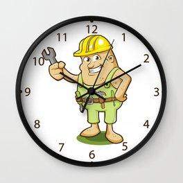 potato worker cartoon Wall Clock