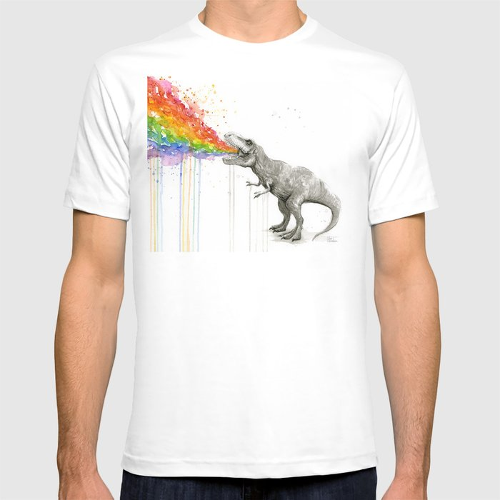 T-Rex Dinosaur Rainbow Puke Taste the Rainbow Watercolor T-Shirt