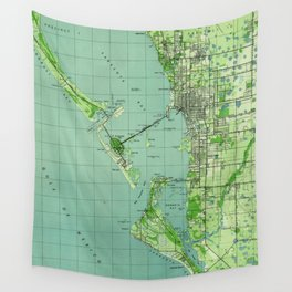 Vintage map of Sarasota Florida (1944) Wall Tapestry