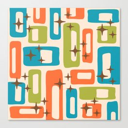Retro Mid Century Modern Abstract Pattern 921 Orange Chartreuse Turquoise Canvas Print