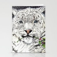 snow leopard Stationery Cards featuring Snow Leopard by Shelli Graham