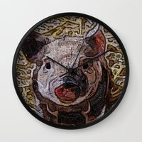 piglet Wall Clocks featuring Shiny doodle PIGLET by MehrFarbeimLeben