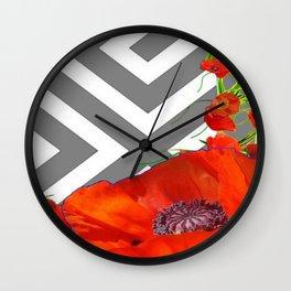 CONTEMPORARY ORANGE POPPIES MODERN ART Wall Clock