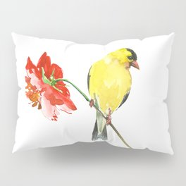 American Goldfinch and Red Flower, Minimalist Yellow Red Floral art Pillow Sham