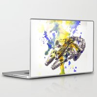 millenium falcon Laptop & iPad Skins featuring Star Wars Millenium Falcon  by idillard