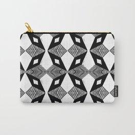 Linocut printmaking pattern black and white scandinavian scandi hipster cute geometric art Carry-All Pouch