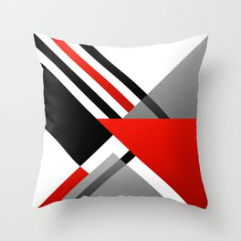 Sophisticated Ambiance - Silver & Passion Red Throw Pillow