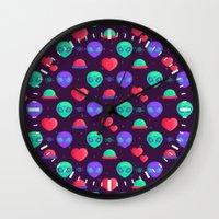 aliens Wall Clocks featuring Kawaii Aliens by badOdds