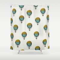 hot air balloons Shower Curtains featuring Hot Air Balloons by Juste Pixx Designs