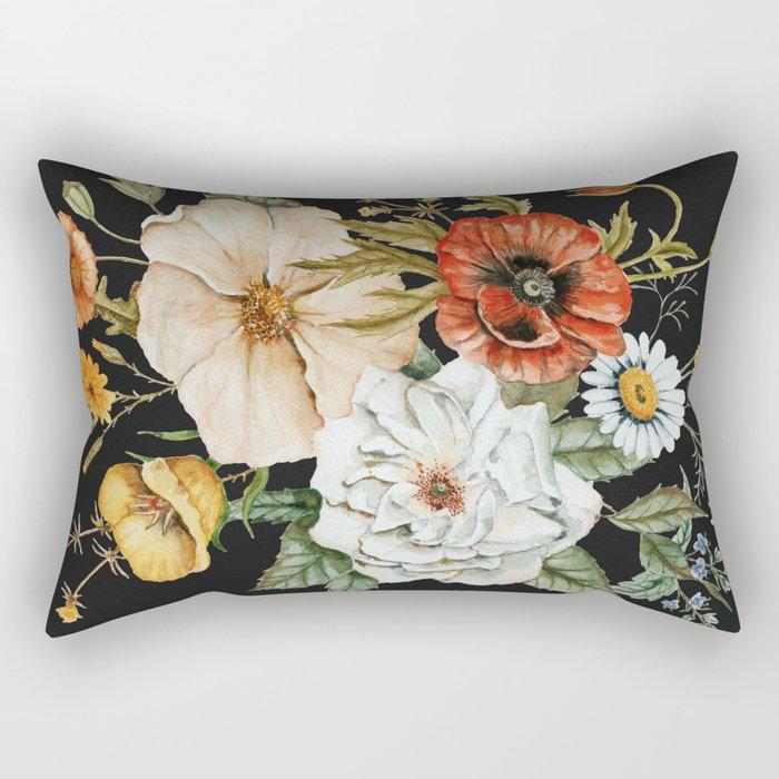 Wildflower Bouquet on Charcoal Rectangular Pillow