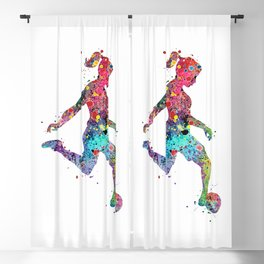Girl Soccer Player Watercolor Sports Art Blackout Curtain
