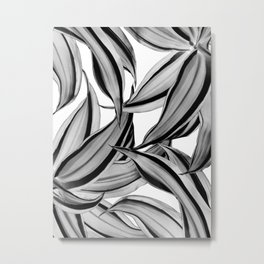 Dracaena Tropical Leaves Pattern Black & White #2 #tropical #decor #art #society6 Metal Print