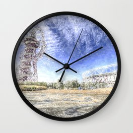 West Ham Olympic Stadium And The Arcelormittal Orbit Snow Wall Clock