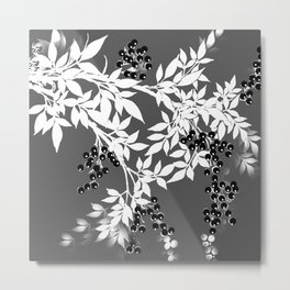 TREE BRANCHES GRAY WHITE WITH BLACK BERRIES Metal Print