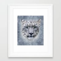snow leopard Framed Art Prints featuring snow leopard by ulas okuyucu