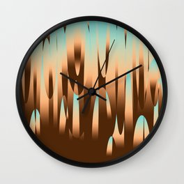 Lava lamp brown and blue sky composition Wall Clock