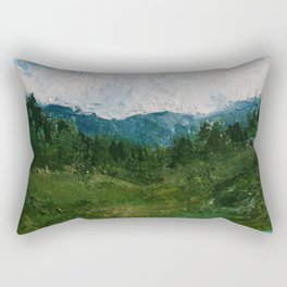 A Forest Under Blue Skies Impasto Painting Rectangular Pillow