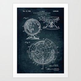 1934 - Sun ray indicating terrestrial globe patent art Art Print
