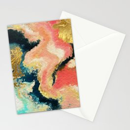 Abstract Watercolor Marble Painting Gold, Blue, Blush Pink Stationery Cards