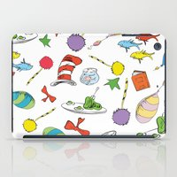 dr seuss iPad Cases featuring dr seuss pattern..  cat in the hat, lorax, oh the places you'll go,  by studiomarshallarts