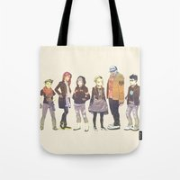 teen titans Tote Bags featuring Teen Titans Streetwear by Elle Tharp