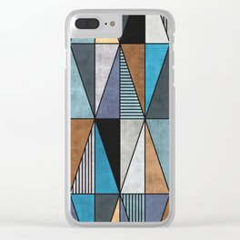 Colorful Concrete Triangles - Blue, Grey, Brown Clear iPhone Case