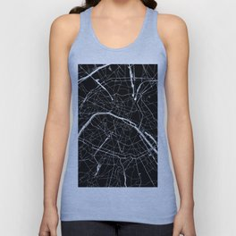 Paris France Minimal Street Map - Black on White Unisex Tank Top