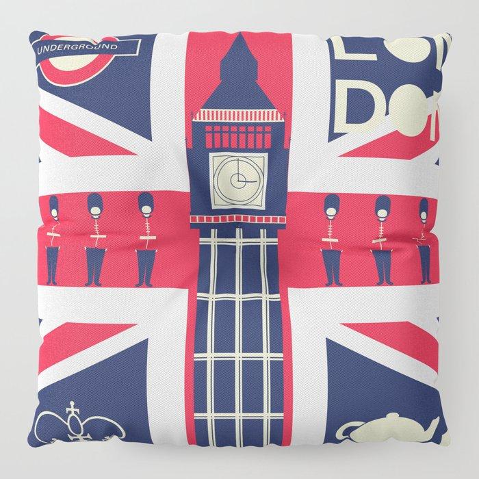 Vintage Union Jack UK Flag with London Decoration Floor Pillow