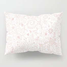 Floral Pattern Pink on White Pillow Sham