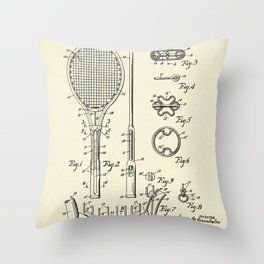 Tennis Racket-1948 Throw Pillow