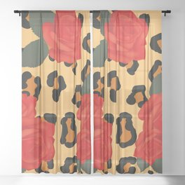 Animalier Leopard and Red Roses  Sheer Curtain