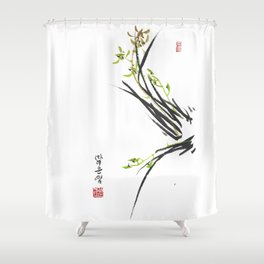 Green Wild Orchid Two Shower Curtain