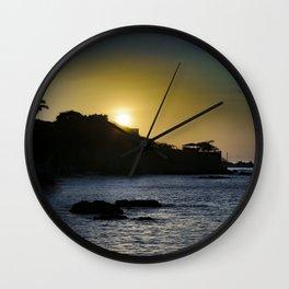 Sunset Scene at La Libertad Malecon, Santa Elena, Ecuador Wall Clock