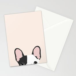 French Bulldog peeking cute black and white frenchie must have dog mom pet lover gifts Stationery Cards