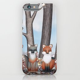 fox friends (with chickadees) iPhone Case
