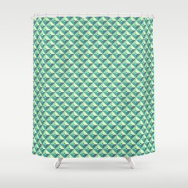 Green Triangles Pattern Shower Curtain