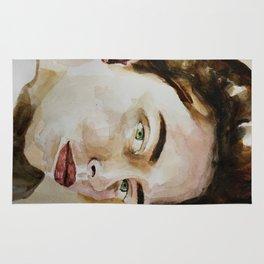 Watercolor portrait beautiful girl Rug
