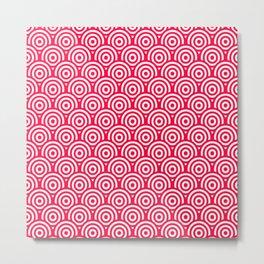 Red/Pink & White Geometric Circle Pattern Metal Print