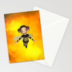 Little Bee Girl Golden Clouds Stationery Cards