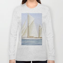 Vintage Racing Ketch Sailboat Illustration (1913) Long Sleeve T-shirt