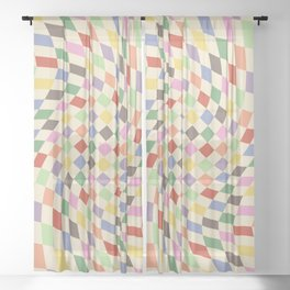 Colorful Checkered Swirl Pattern Sheer Curtain