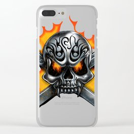 Flaming Skull and Wrenches Clear iPhone Case