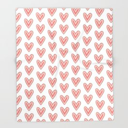 I Heart You in Pink and Coral Throw Blanket