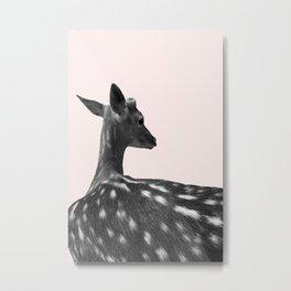 Deer on Pink Background Metal Print