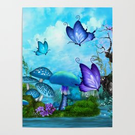 Mystic Whimsey Butterfly Pond Fantasy Poster