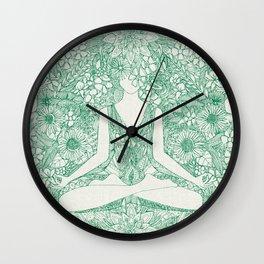 lotus garden vintage green Wall Clock