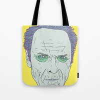 clint eastwood Tote Bags featuring Clint Eastwood by Maciek Szczerba