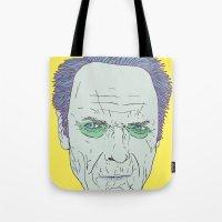 clint eastwood Tote Bags featuring Clint Eastwood by Maciek Szczerba
