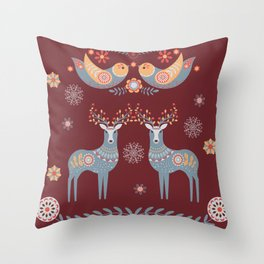 Nordic Winter Red Throw Pillow