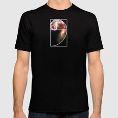 Fibonacci Spiral Galaxy Mens Fitted Tee Black SMALL